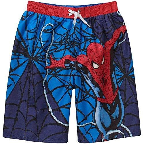 [Marvel Ultimate Spiderman Boys Swim Trunks, Blue Web (6/7)] (Blue Spiderman Suit)