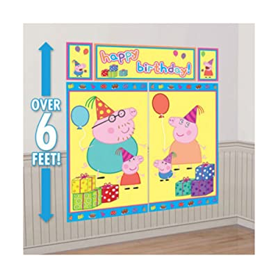Peppa Pig WALL POSTER Decoration Kit Scene Setter Birthday Party Supplies: Toys & Games