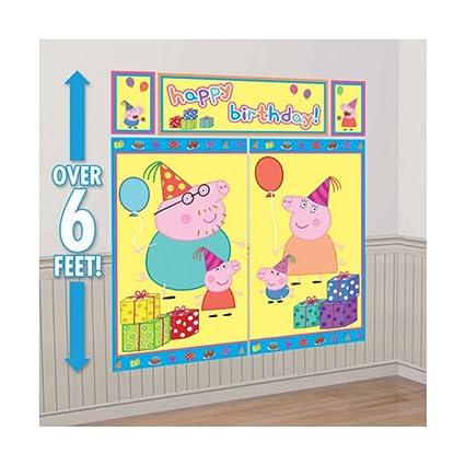 Amazon.com: Peppa Pig WALL POSTER Decoration Kit Scene Setter ...