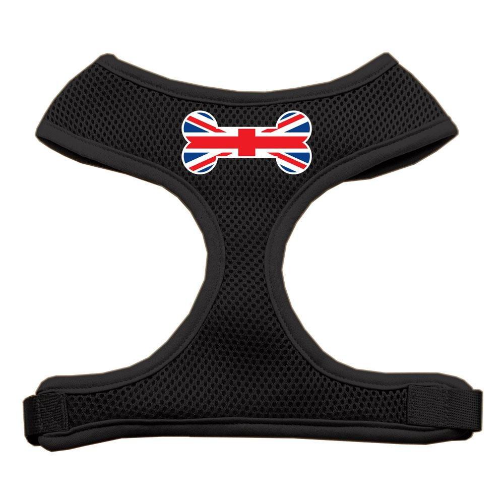 Mirage Pet Products Bone Flag UK Screen Print Soft Mesh Dog Harnesses, Medium, Black
