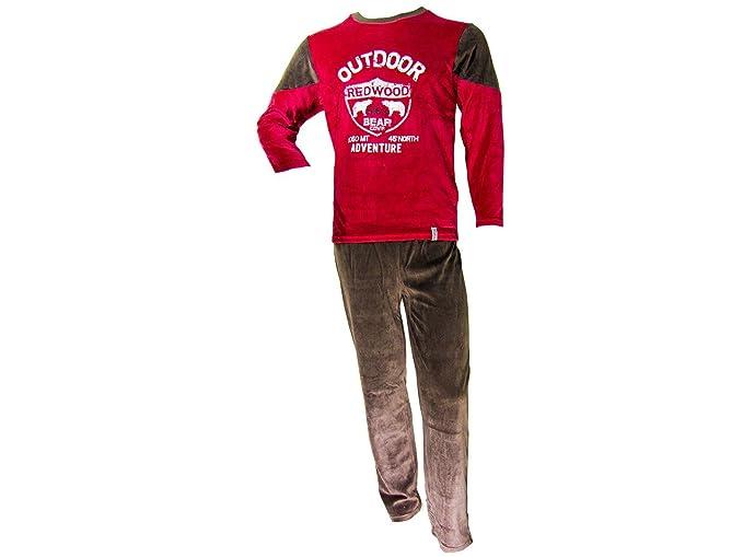 Pijama tundosado (terciopelo) manga larga Hombre Granate-Negro - L, Granate