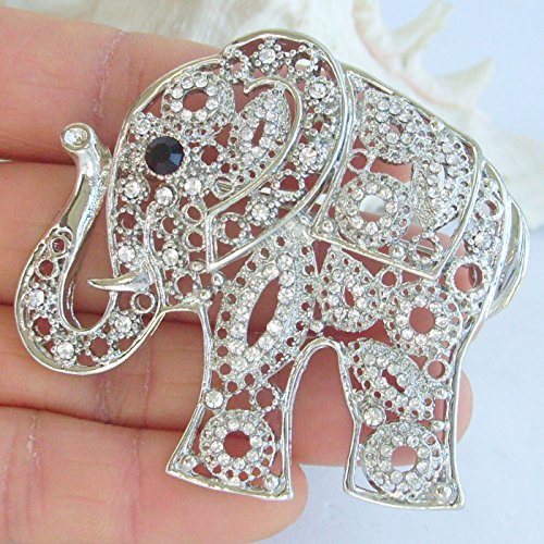 Sindary Unique Animal 2.17'' Silver-Tone Clear Rhinestone Crystal Elephant Brooch Pin Pendant BZ5102 by Animal Brooch-Sindary Jewelry (Image #2)