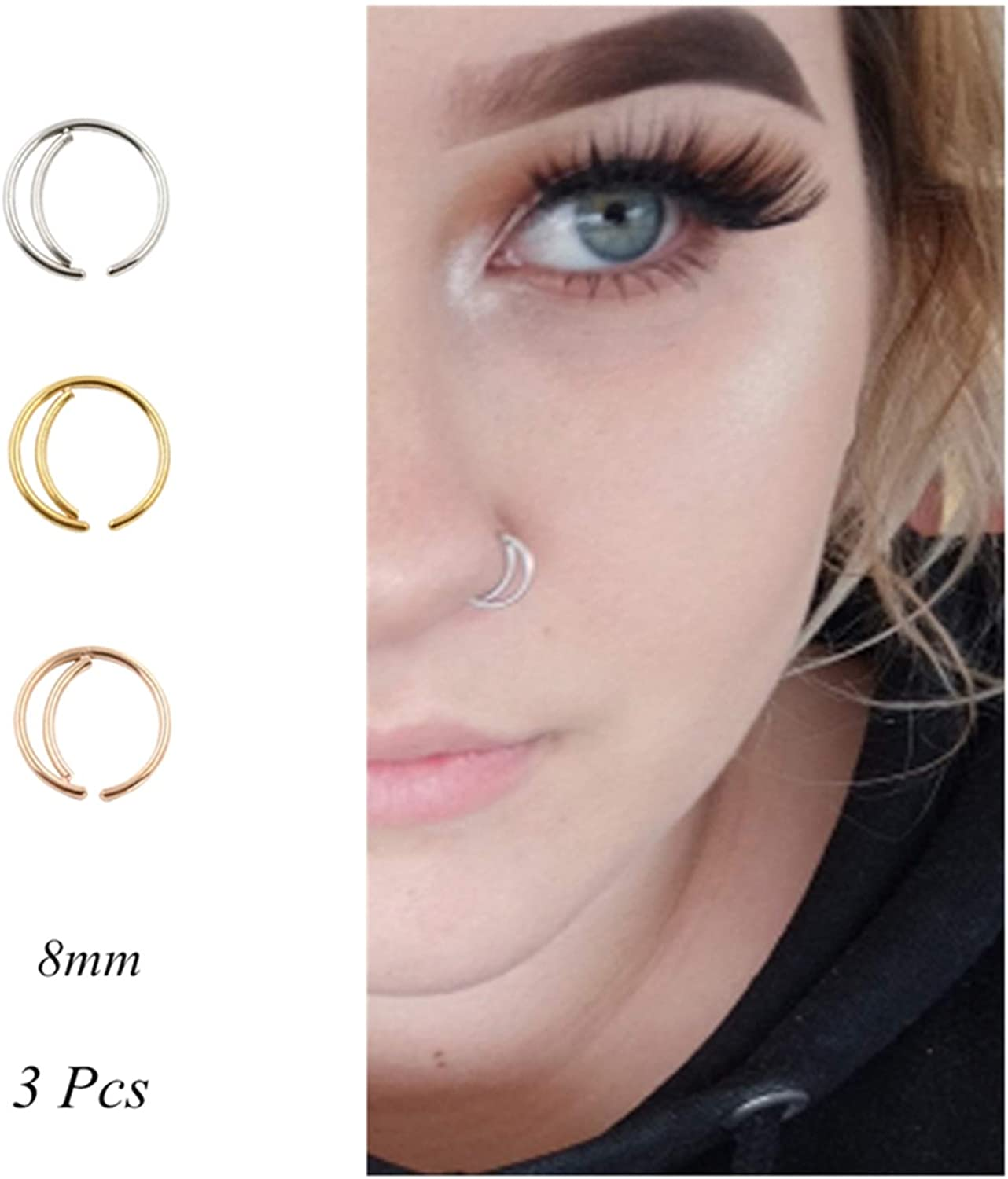 Amazon Com Moon Nose Ring Hoop 20g Surgical Steel Nose Rings