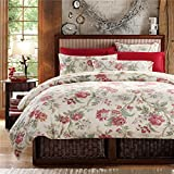 Brandream French Country Garden Toile Floral Printed Duvet Quilt Cover Cotton Bedding Set Asian Style Tapestry Pattern Chinoiserie Peony Blossom Tree Branches Multicolored Design (Queen,Ivory)