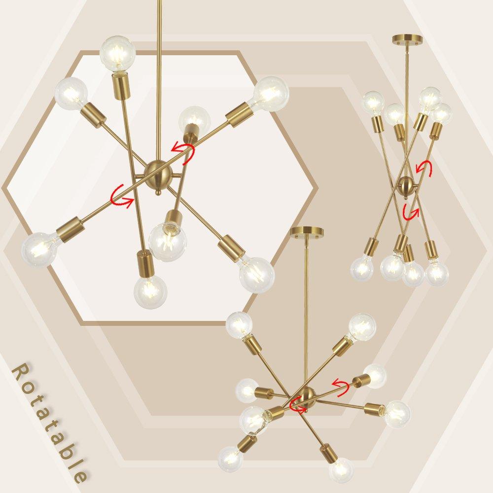 8 Lights Modern Sputnik Chandelier Lighting with Adjustable Arms Mid Century Pendant Light Vintage Industrial Farmhouse Ceiling Light Fixture Brushed Brass by BONLICHT