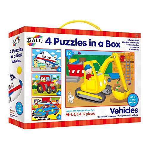 Galt Toys Inc Vehicles in a Box Puzzle, 4-Piece - Box Puzzles Toys