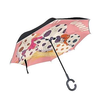 ALINLO - Paraguas invertido con diseño de Huevo de Dinosaurio, Doble Capa, Resistente al