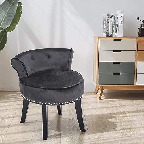 Velvet Makeup Vanity Stool Chair Bench for Bedroom with Rivet Deco for Dressing Table Black W Rivet