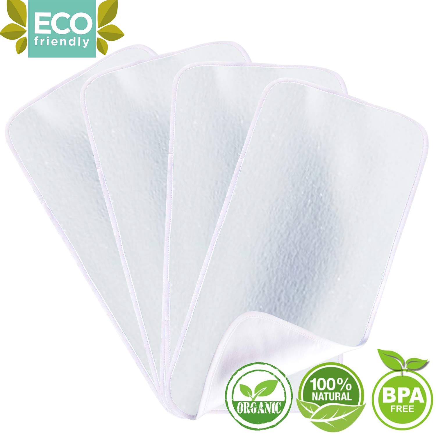 Organic Bamboo Burp Cloths - Thickening 2 Layer Ultra Absorbent Burping Cloth for Baby Boys and Girls, Newborn Essentials Towel - Milk Spit Up Rags - Burpy Bib for Unisex - White (4-Pack) by HIPHOP PANDA