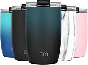 Simple Modern 12oz Voyager Travel Mug Tumbler w/Clear Flip Lid & Straw - Coffee Cup Kids Vacuum Insulated Flask 18/8 Stainless Steel Hydro Ombre: Moonlight