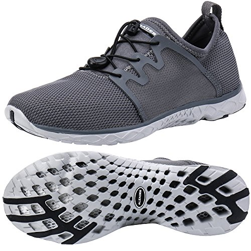 ALEADER Mens Quick-Dry Slip On Water Shoes Dark Gray 11 D(M) US