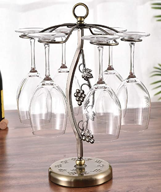 Rotation Freestanding Tabletop Stemware Storage Display Rack Iron European Style Wine Glass Cup Holder Wine Cabinet Decoration with 6 Hooks