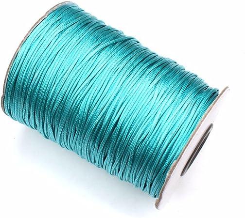 1 mm x 180 metros de hilo de cable de cordón de algodón encerado para pulseras/collares azul celeste: Amazon.es: Hogar
