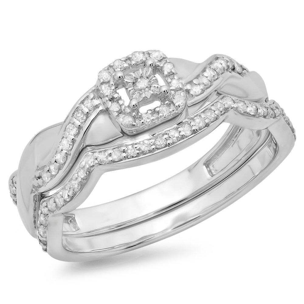 0.30 Carat (ctw) Sterling Silver Round Diamond Ladies Swirl Bridal Engagement Ring Set 1/3 CT (Size 6.5)