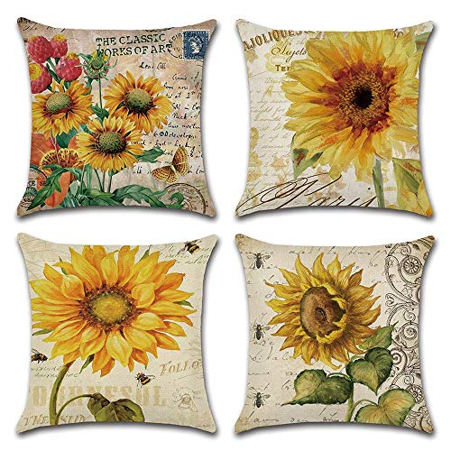 (DUSEN Decorative Cotton Linen Set of 4 Throw Pillow Cushion Covers 18 x 18 inch for Sofa, Bench, Bed, Auto Seat (Sunflower Pattern) )