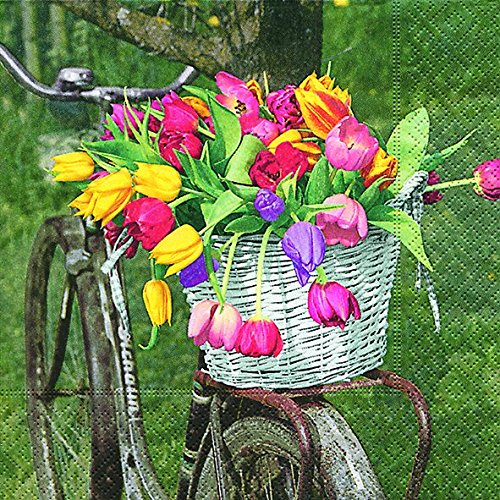 20 Servilletas cesta de flores en bicicleta/Flores/Jardín 33 x 33 ...