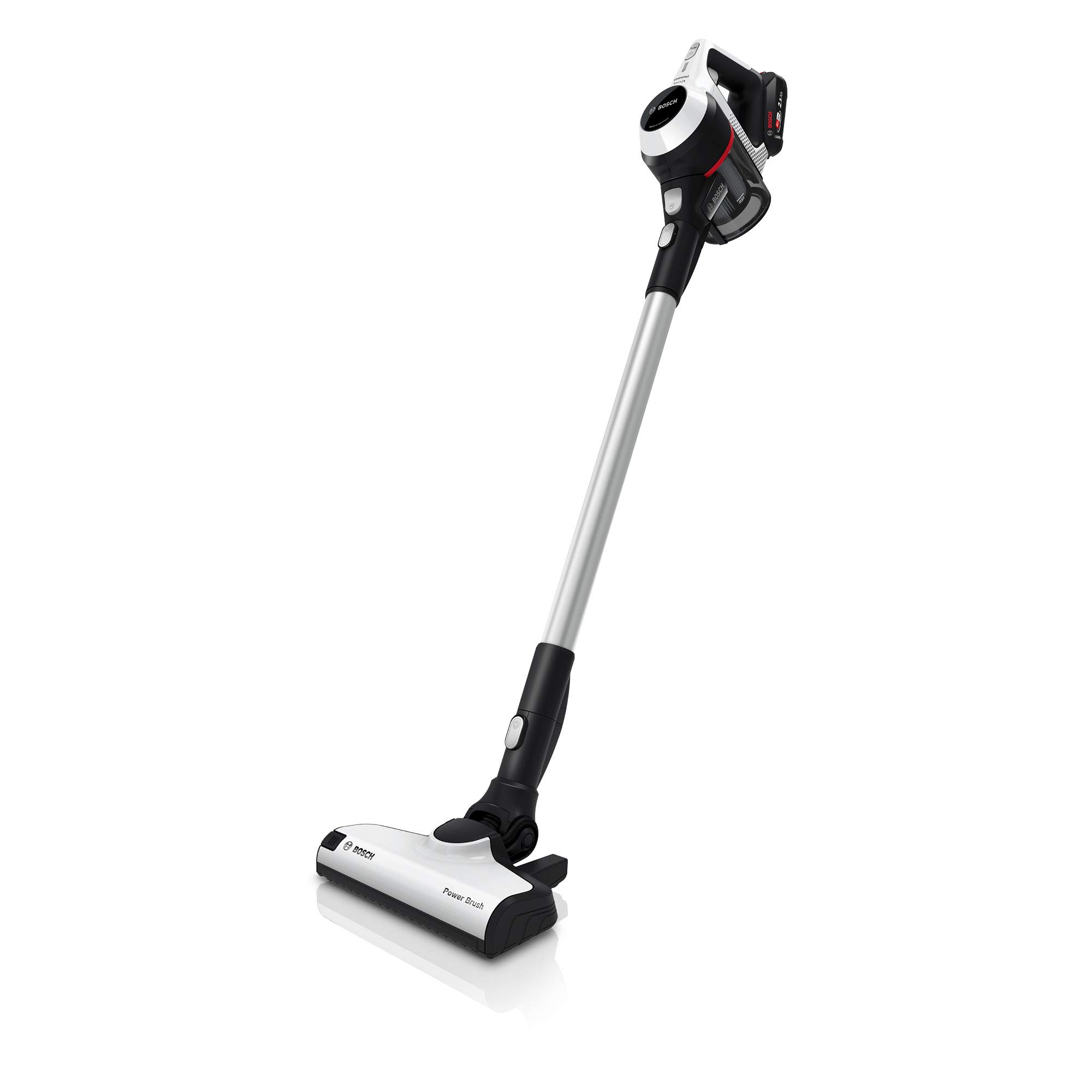 Bosch Unlimited Serie | 6 - Rechargeable Cordless & Lightweight Vacuum Cleaner for Multiple Surfaces with Two Battery Packs, Crevice Tool, Mattress Nozzle & Furniture & Upholstery Nozzles, in White