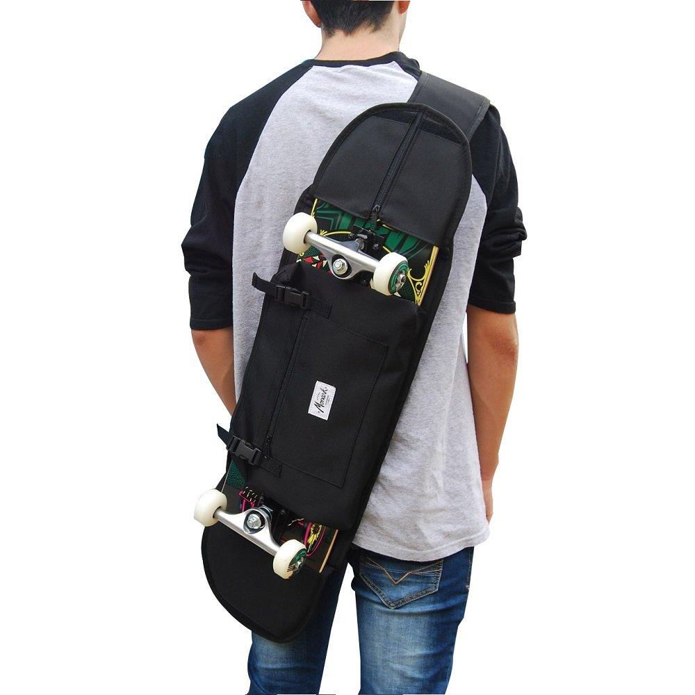 Mochila porta skate para transportar monopatin forma comoda en tablas completa hasta 8.5