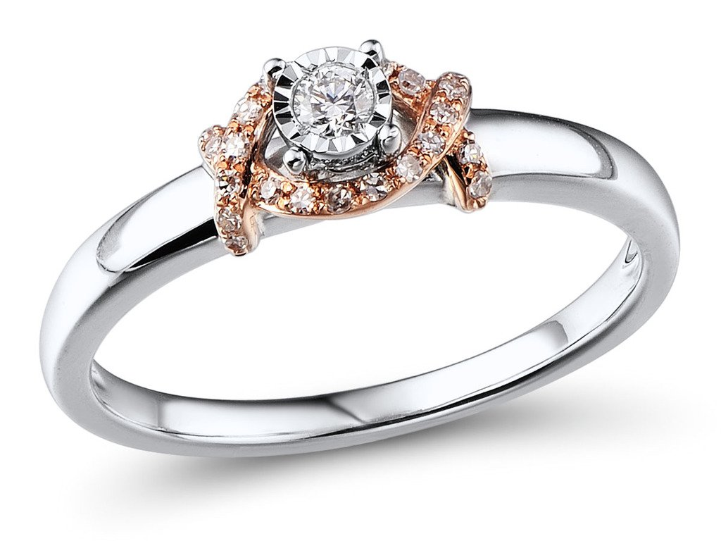 Diamond Promise Ring Rhodium Plated Sterling Silver and 10k Rose Gold Diamond Halo 1/10 cttw (HI, I2-I3)