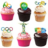 25 Stand Up 2016 Rio Olympics Themed Premium Edible Wafer Paper Cake Toppers