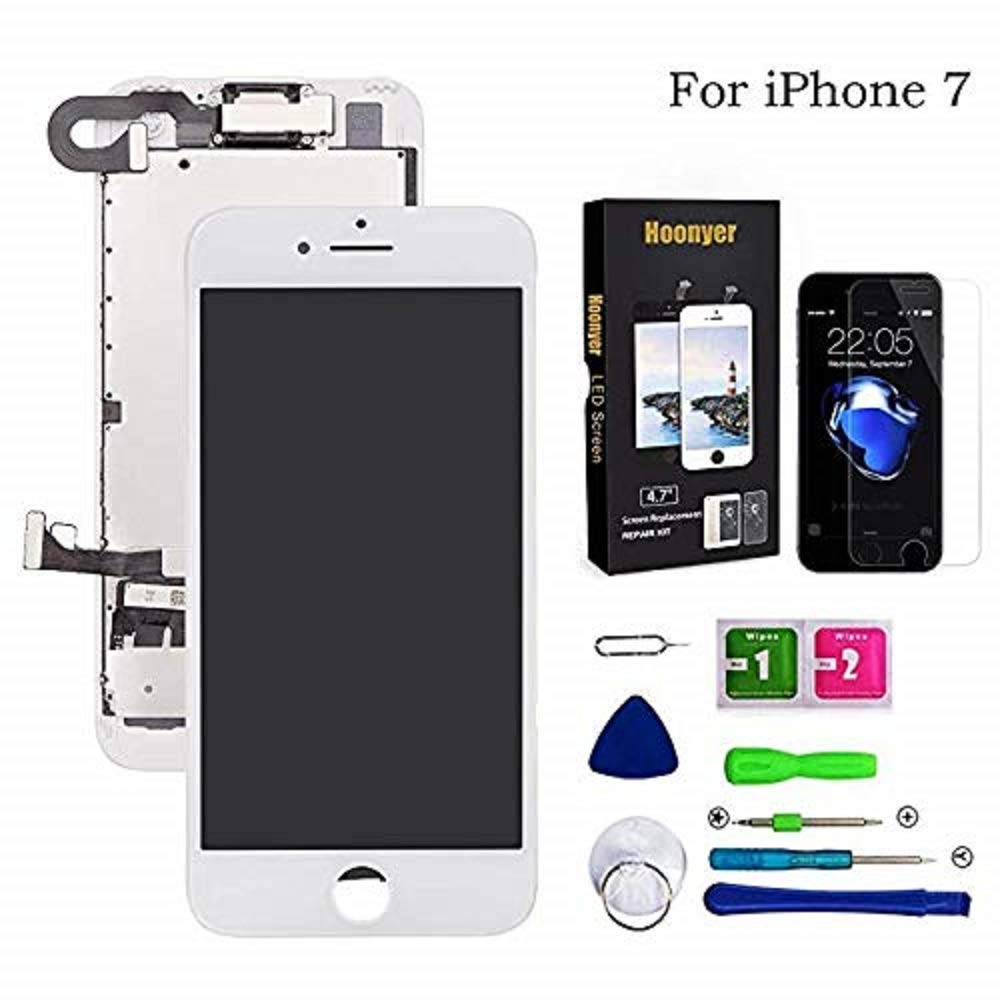 Bianco con Fotocamera, Altoparlante, Sensore Flex Hoonyer Display per iPhone 7 Touch Screen LCD Digitizer Schermo 4,7 Utensili Inclusi