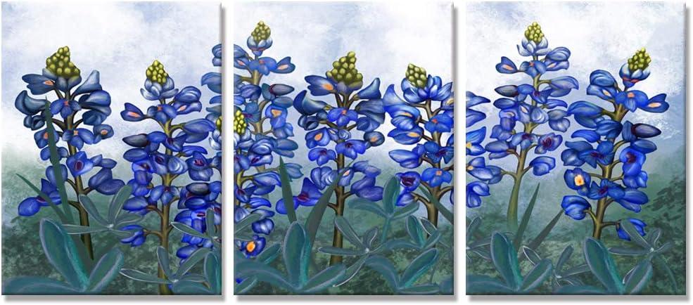 Visual Art Decor Texas Bluebonnets Flowers Canvas Wall Art Blue Floral Picture Prints for Bedroom Living Room Bathroom Decoration (07 Bluebonnets)