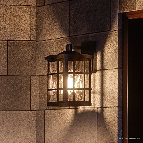 Luxury Craftsman Outdoor Wall Light, Small Size: 13''H x 8''W, with Tudor Style Elements, Highly-Detailed Design, Oil Rubbed Parisian Bronze Finish and Water Glass, UQL1233 by Urban Ambiance by Urban Ambiance