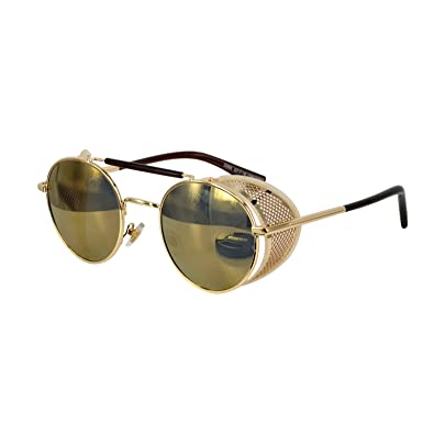 119b9b46c26 Image Unavailable. Image not available for. Color  Ucspai Steampunk  Sunglasses Goggles Gold Frame with Reflective Lens
