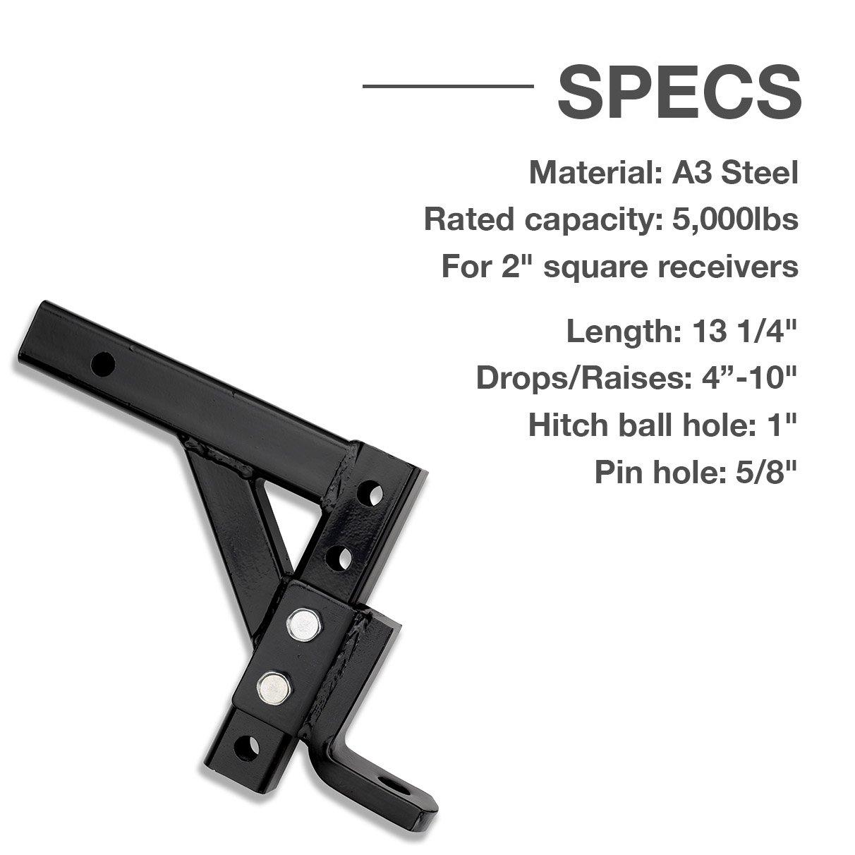 Neiko 20035 Drop Ball Mount for Towing Weather-Resistant 10 Adjustable Trailer Hitch Ridgerock Tools Inc. 5,000 LB Capacity 10 Adjustable Trailer Hitch