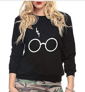 Sudadera - Jersey - Estampado - Logotipo - Harry Potter - Niña - Mujer - Gafas - Relámpago - Negro: Amazon.es: Ropa y accesorios