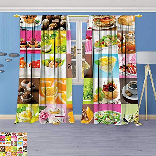 Salad Chartreuse (Philiphome Pattern Decor Artistic Window Curtain by, of Tasty Delicious Yummy Foods Deserts Salads Pastries Coffee and Fruits Multicolor,Living Room Bedroom Decorations)