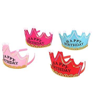 STOBOK LED Parpadea Feliz Cumpleaños Coronas Tiaras Princesa ...
