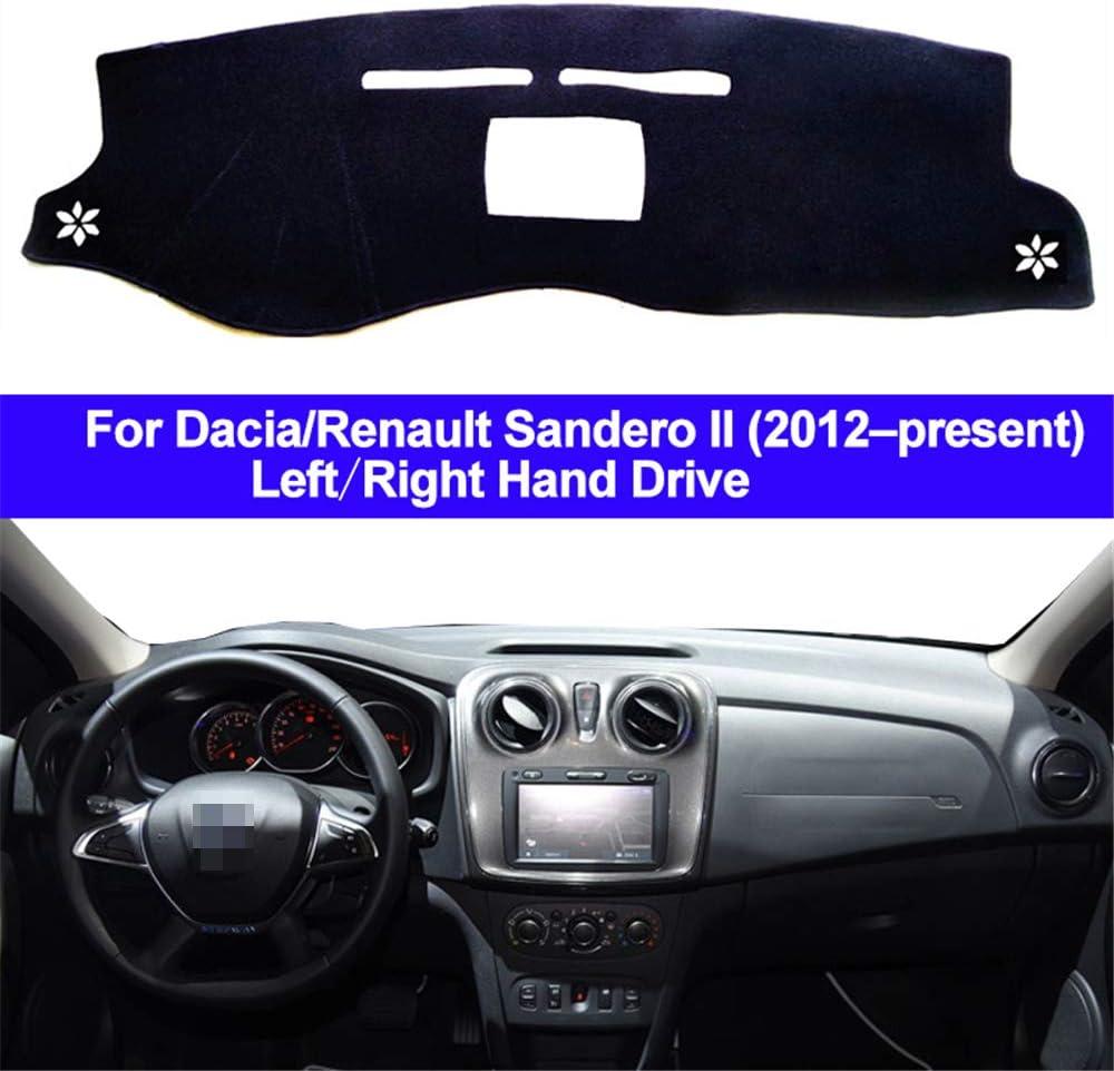 f/ür Dacia Renault Sandero II 2012 2013 2014 2015 2016 2017 2018 2019 2020 ZHAOHAOSC Auto Armaturenbrett Abdeckung Dashmat Teppich Dash Mat 2 Schichten