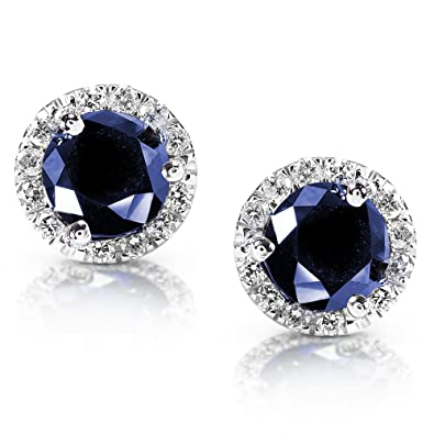 halo saphire gold white diamond earrings in sapphire