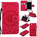 Protective Case for iPhone 6 Plus,iPhone 6S Plus Case Leather Wallet,Gostyle Sun Flower Pattern Embossed Stand Feature PU Flip Cover Magnetic Closure with Card Slots Holder and Lanyard Strap(Red)