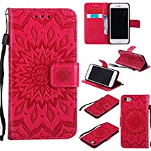 Phone Protective Case for iPhone 6,iPhone 6S Case Leather Wallet,Gostyle Sun Flower Pattern Embossed Stand Feature PU Flip Cover Magnetic Closure with Card Slots Holder and Lanyard Strap(Red)