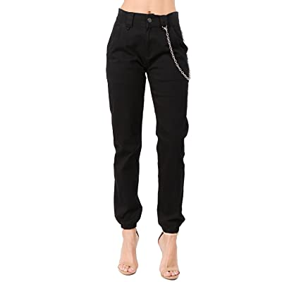 TwiinSisters Women's High Rise Slim Fit Color Jogger Pants with Matching Belt - Size Small to 3X at Women's Clothing store