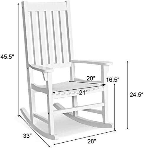 White Acacia Wood Rocking Chair Porch Rocker Comfortable Armrest Backrest Suitable For Both Indoor Outdoor Use Perfect For Patio Deck Area Backyard Balcony Garden Pool Side Use 350 LBS Weight Capacity