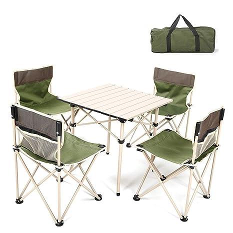 KXBYMX Mesa y Silla de Camping 4 sillas Conjunto terraza ...