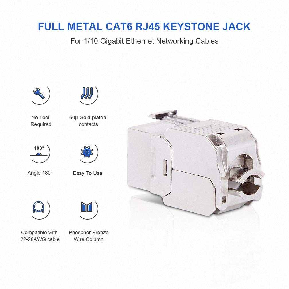 CAT6A RJ45 Keystone Jack Metal case, 6 Pack Shielded Tool-less Keystone Punch-Down Stand and 180-Degree with Color Coded Wiring Schema for Wall Plate Outlet Panel UL Listed