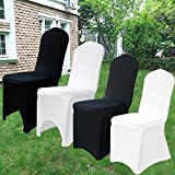 TtS Chair Covers Spandex Lycra Cover Wedding Banquet Anniversary Party Decoration Flat Front #03 Snow White