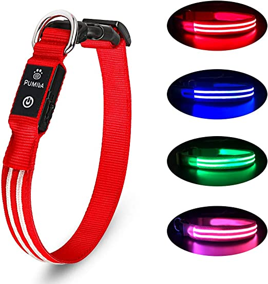 Rechargeable Led Dog Collar - 100% Waterproof Light Up Dog Collar, Safety Pet Collar - Flashing Light Collar for Small, Medium, Large Dogs