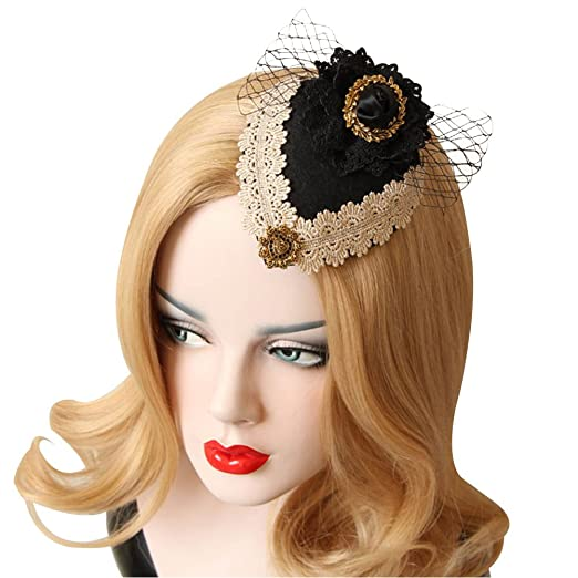 0feafcaf05f Image Unavailable. Image not available for. Color  Mai Yi Retro Ladies  Headdress Small Hat ...