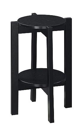 Convenience Concepts Newport Medium Plant Stand, Faux Cement Black