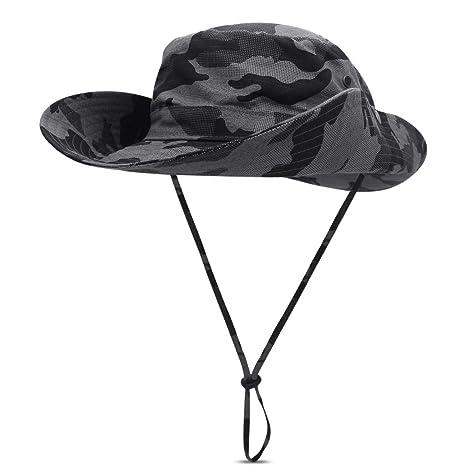 ffa57f2c3a1d2 DORRISO Sun Hat Men Womens Wide Brimmed Bucket Hat UPF 50+ Foldable  Vacation Traveling Mountaineering