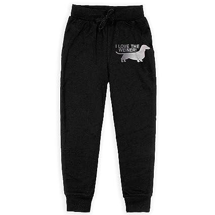 Love Me Love My Dog Children Active Jogger Sweatpants Basic Elastic Sport Pants Black