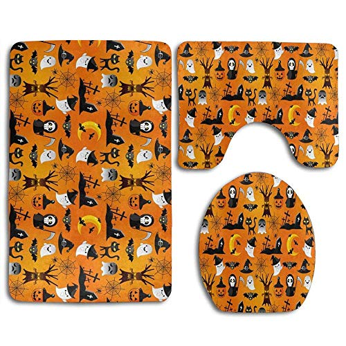 YGUII Halloween Cartoon Spooky, Skull, Bat, Black Cat and Pumpkin 3pcs Set Rugs Skidproof Toilet Seat Cover Bath Mat Lid Cover Cushions Pads]()
