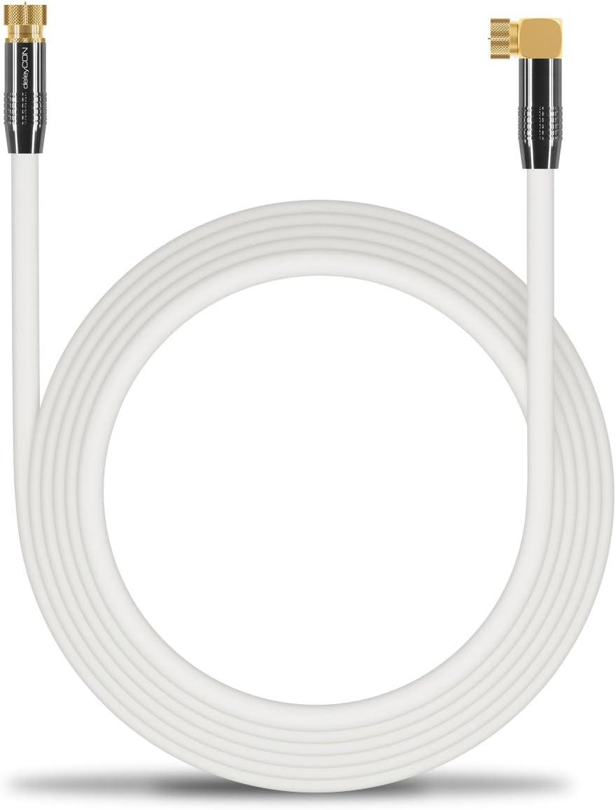 deleyCON 15m Sat Cable de Antena Cable de Satélite Cable Coaxial 100 dB HDTV Full HD - Conector F 90° Grados en Ángulo en Conector F Recto - Conector ...