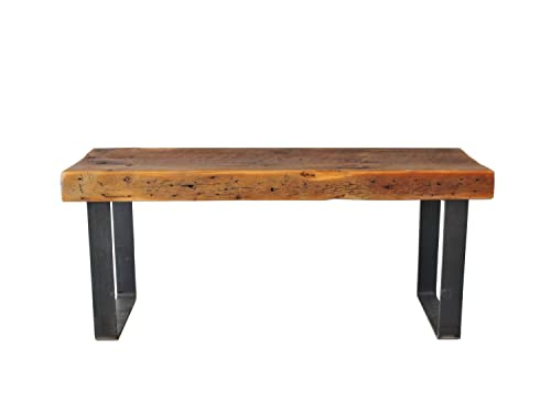 Astounding Bench Reclaimed Wood Industrial Steel Bench Free Shipping Thick Top Gmtry Best Dining Table And Chair Ideas Images Gmtryco