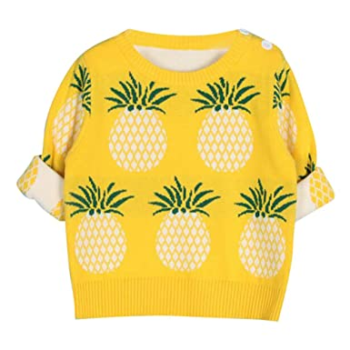b5d5233bc Baby Kids Knitted Sweater Pineapple Knitting Jumper Long Sleeve ...
